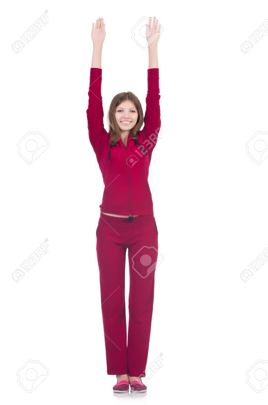 Young woman doing exercises on white Stock Photo - 22311461