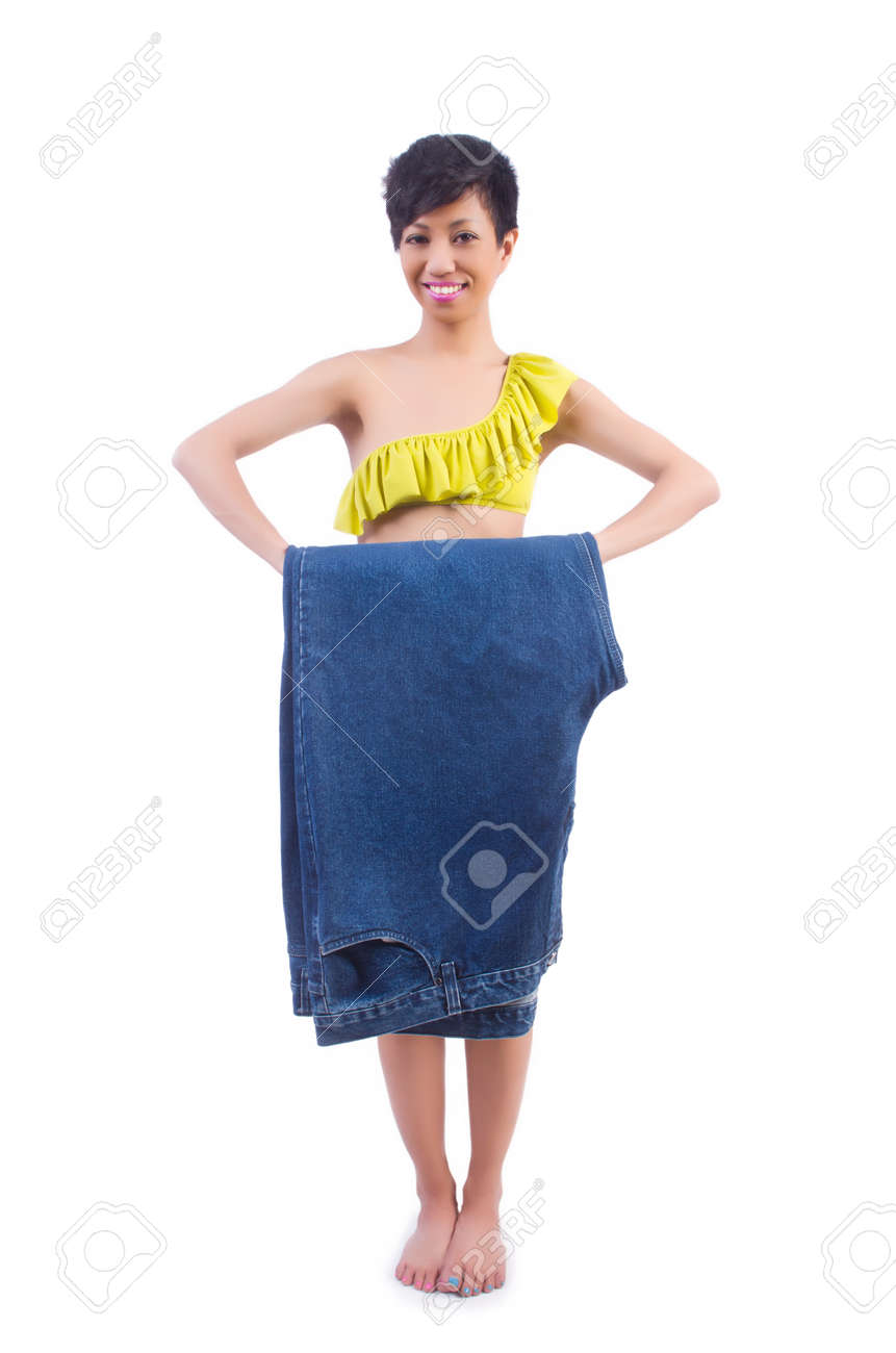 Woman in dieting concept with big jeans Stock Photo - 22277991