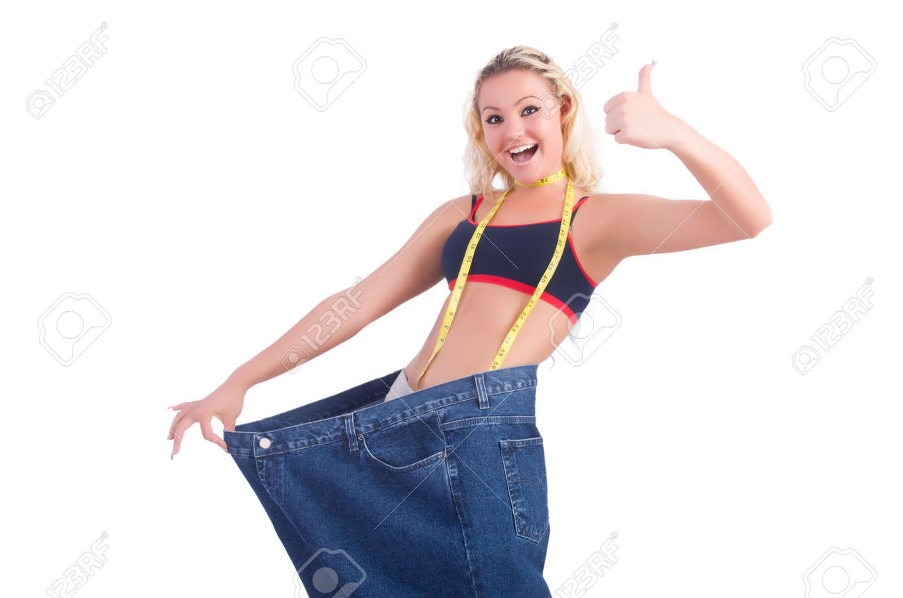 Woman in dieting concept with big jeans Stock Photo - 22278012