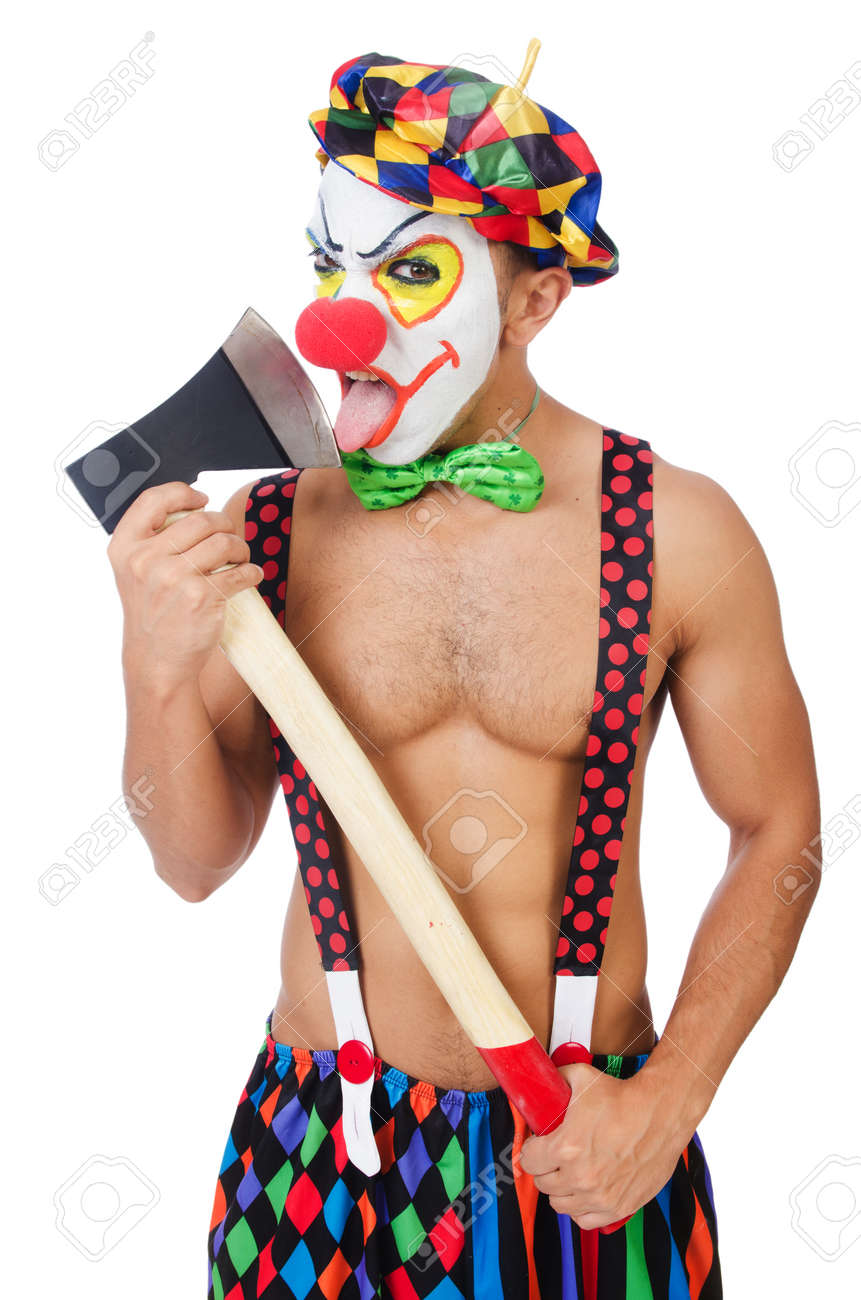 Clown with axe isolated on white Stock Photo - 22278075