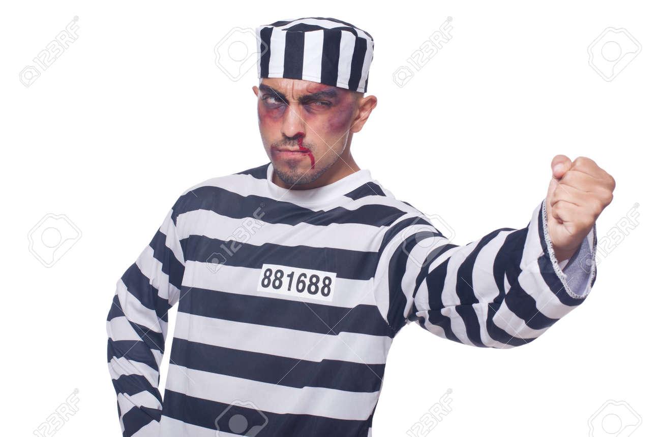 Prisoner with bad bruises on white Stock Photo - 22273909