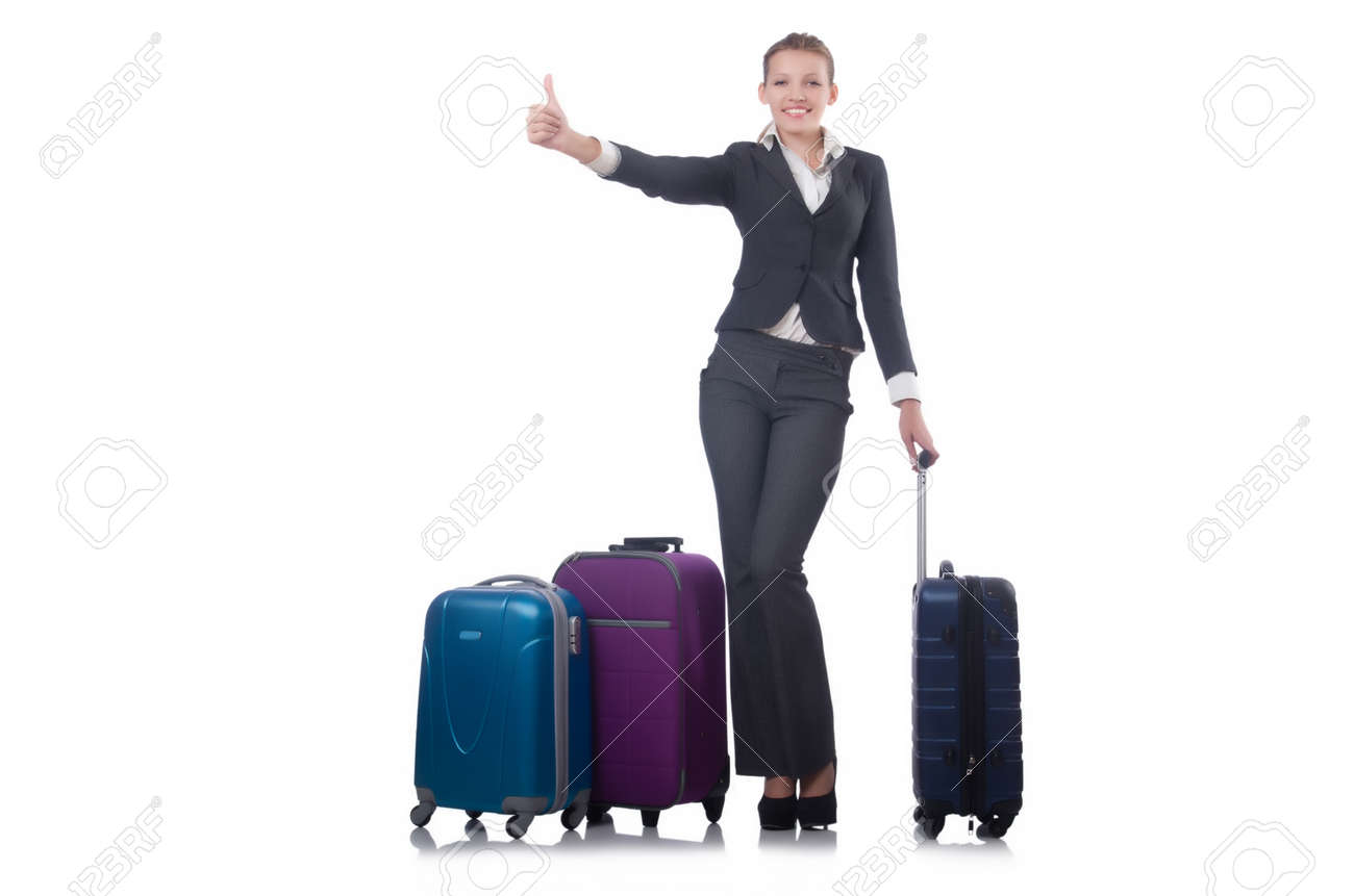 Businesswoman travelling isolated on white Stock Photo - 22328217