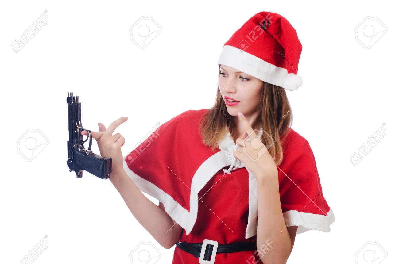 Young woman in red santa costume on white - 22328275