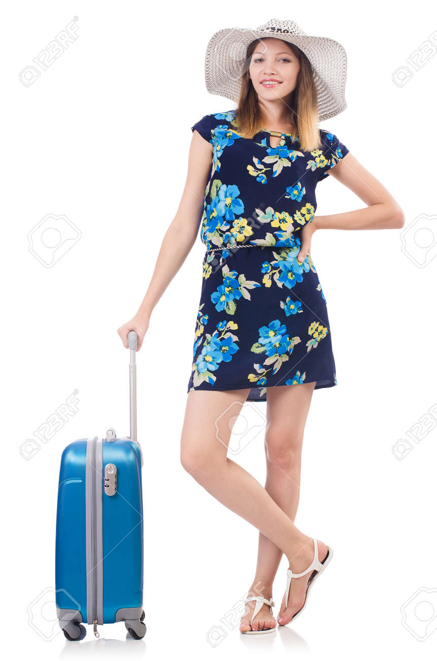Woman with suitcases isolated on white Stock Photo - 22332075