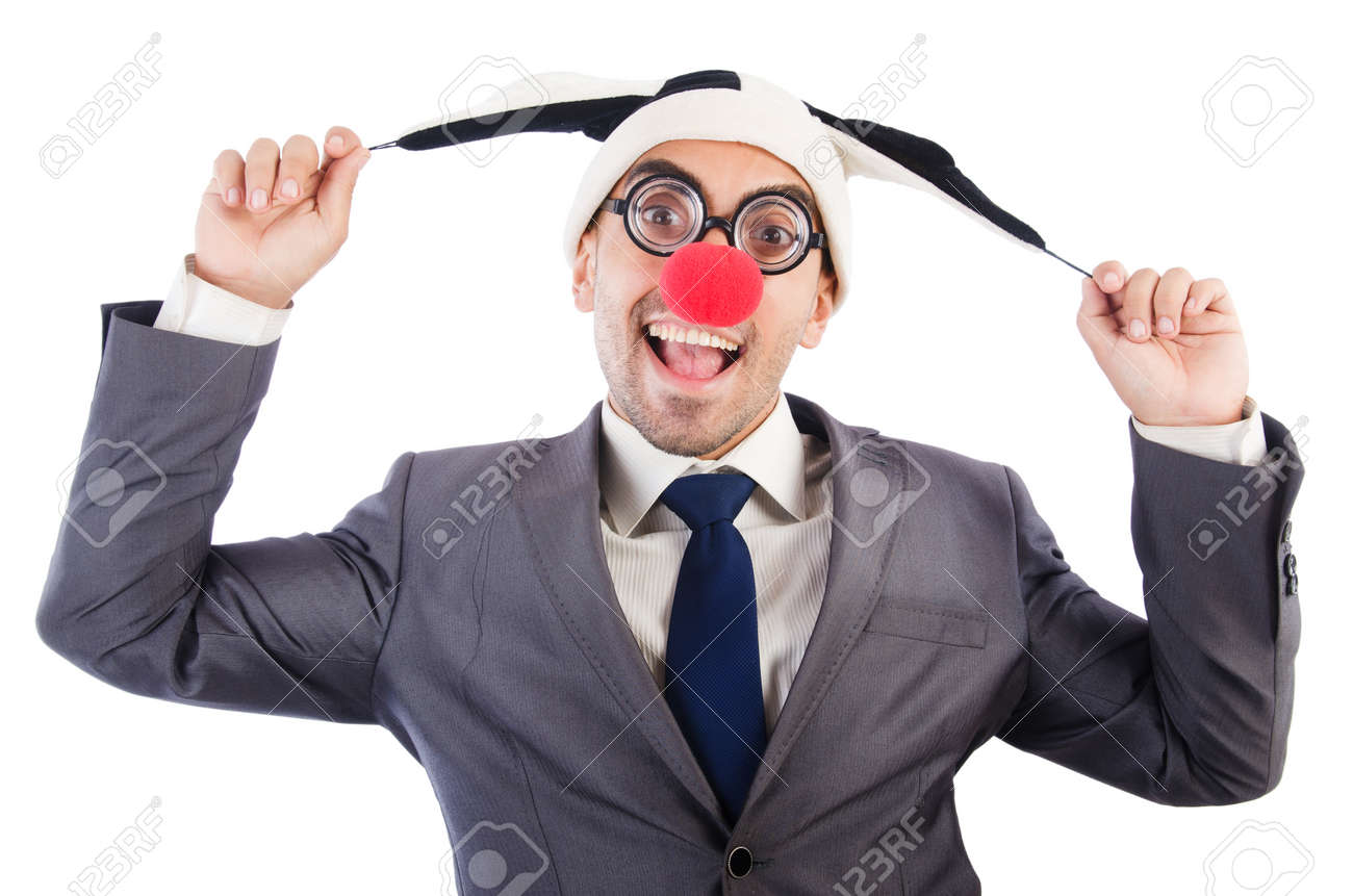 Businessman clown isolated on white Stock Photo - 22475703