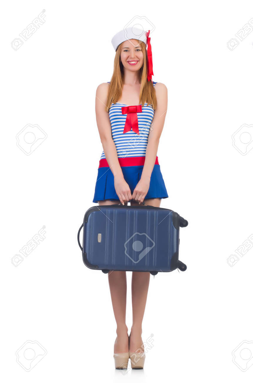 Woman travel attendant with suitcase on white Stock Photo - 22332710