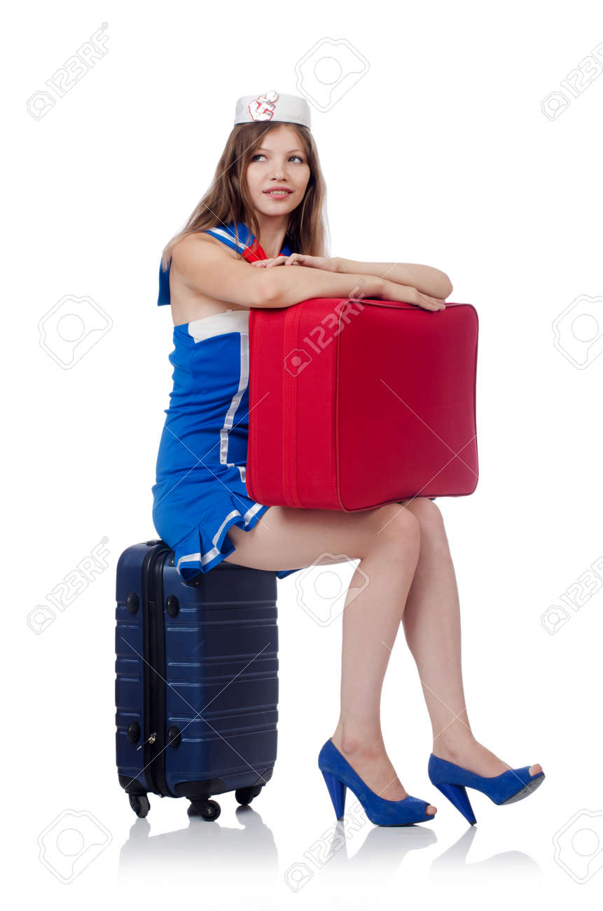 Woman travel attendant with suitcase on white Stock Photo - 22327201