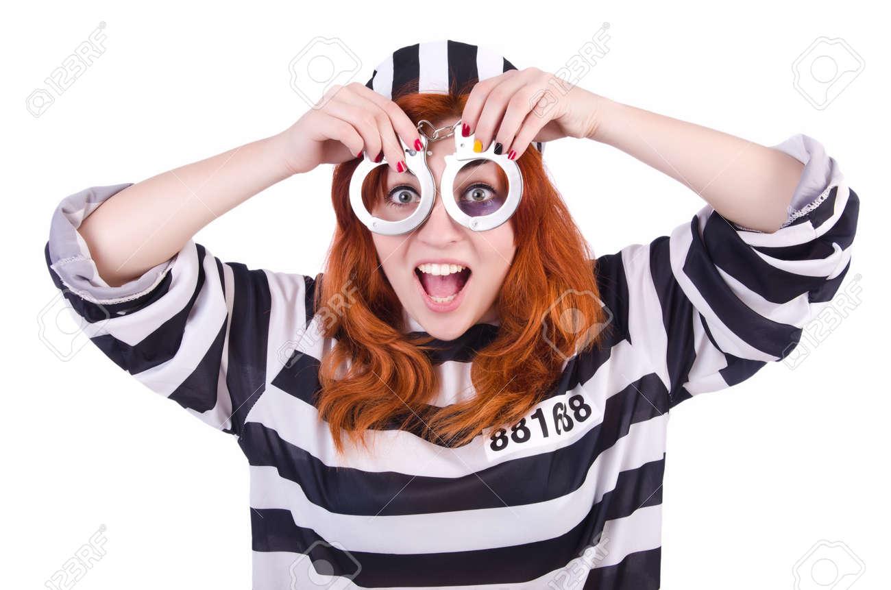 Prisoner in striped uniform on white Stock Photo - 22326694