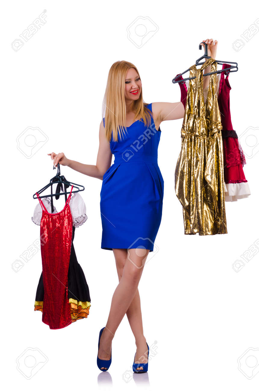 Woman trying new clothing on white Stock Photo - 23100247