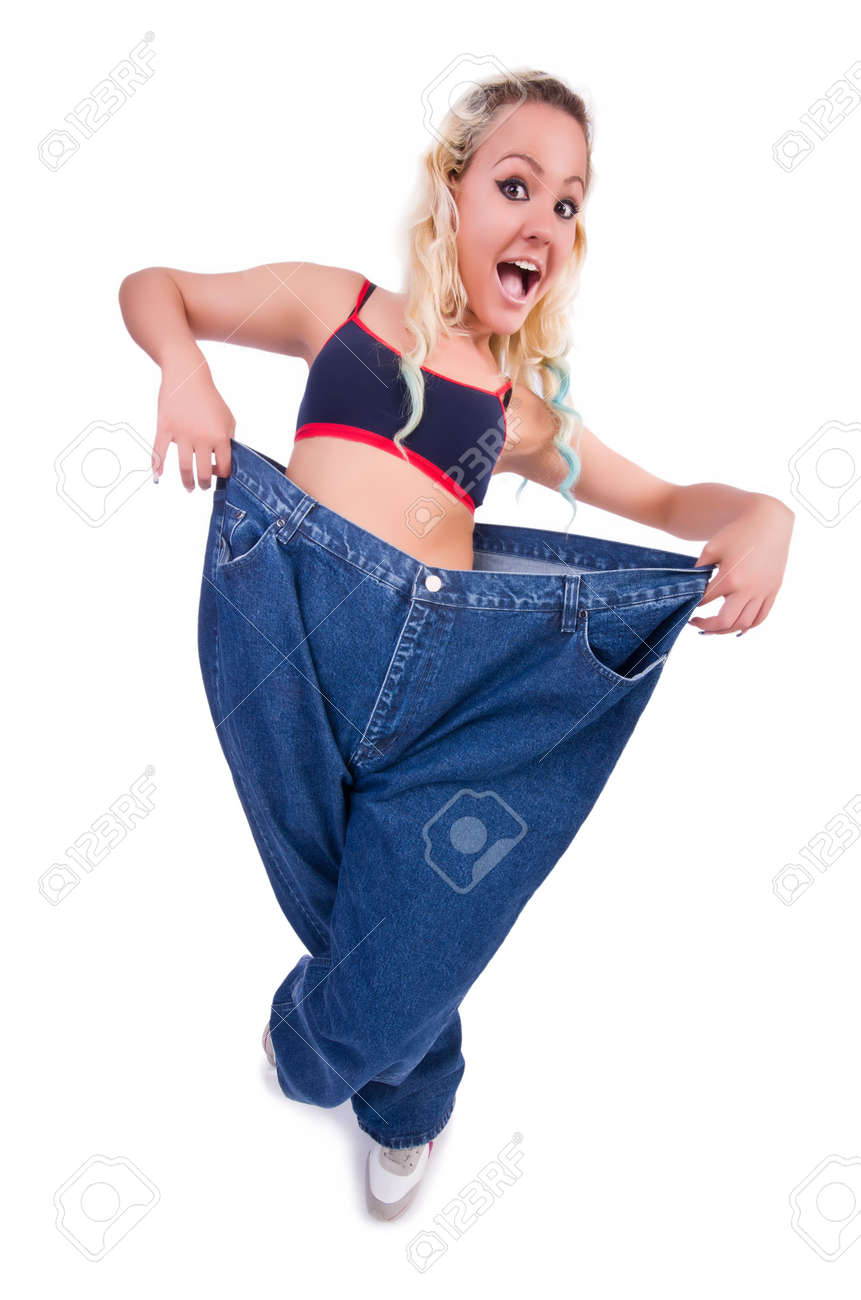 Woman in dieting concept with big jeans Stock Photo - 22476029