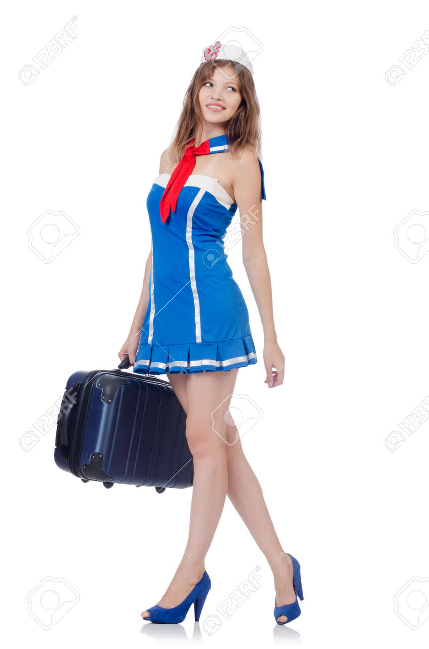 Woman travel attendant with suitcase on white Stock Photo - 22454737