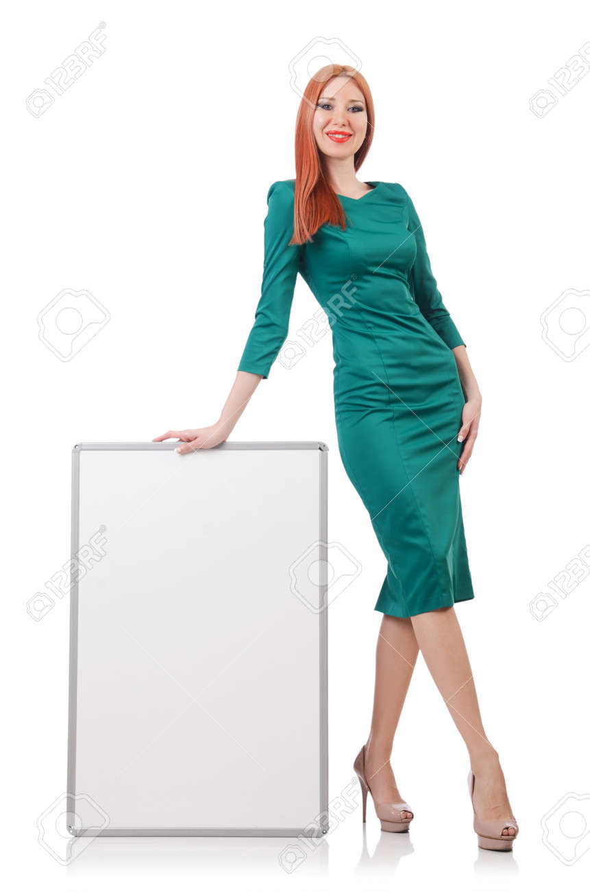 Woman in green dress with blank board Stock Photo - 22476060