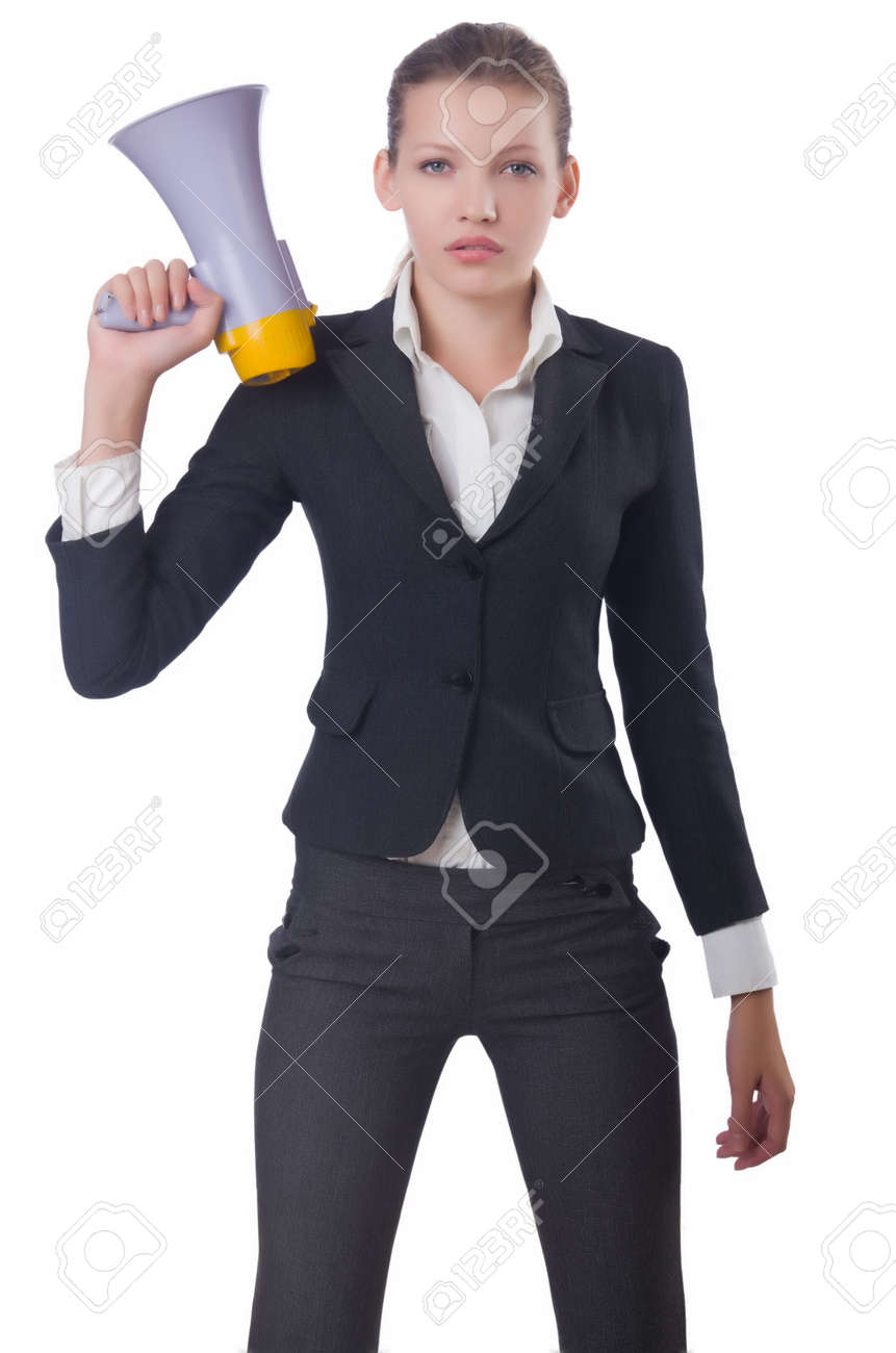 Woman with loudspeaker on white Stock Photo - 22476067