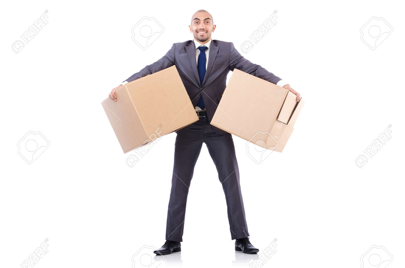 Businessman with box isolated on the white Stock Photo - 22476080