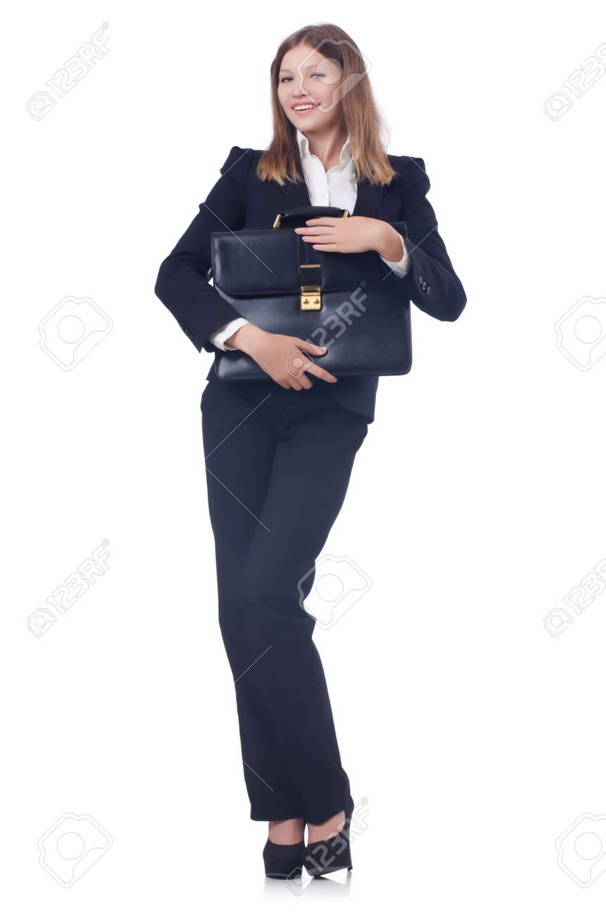 Young businesswoman isolated on white Stock Photo - 22476084