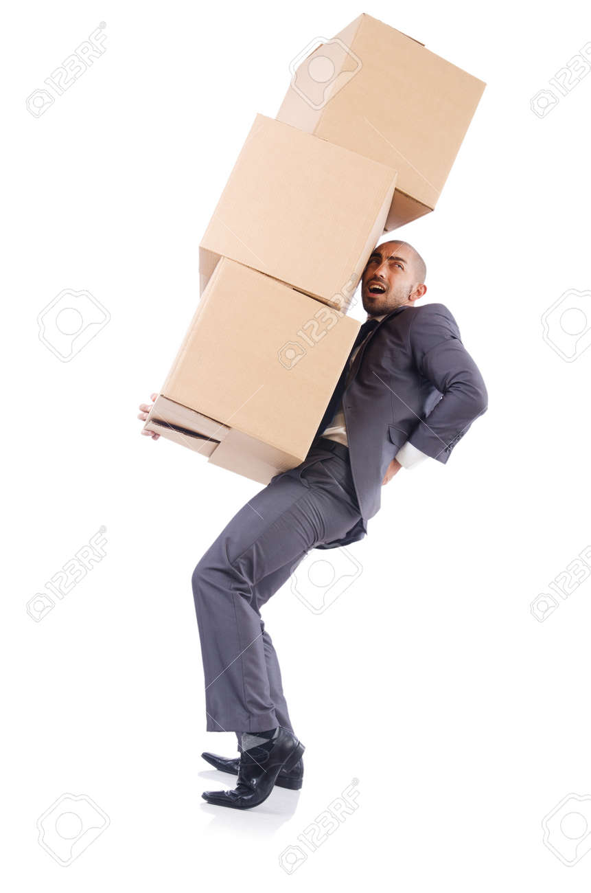 Businessman with box isolated on the white Stock Photo - 22542008