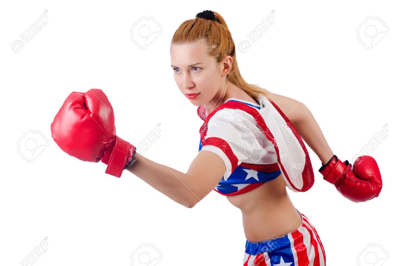 Woman boxer isolated on white Stock Photo - 22581477