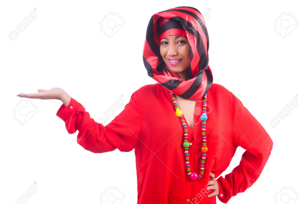 Woman in red scaf on white Stock Photo - 22581683