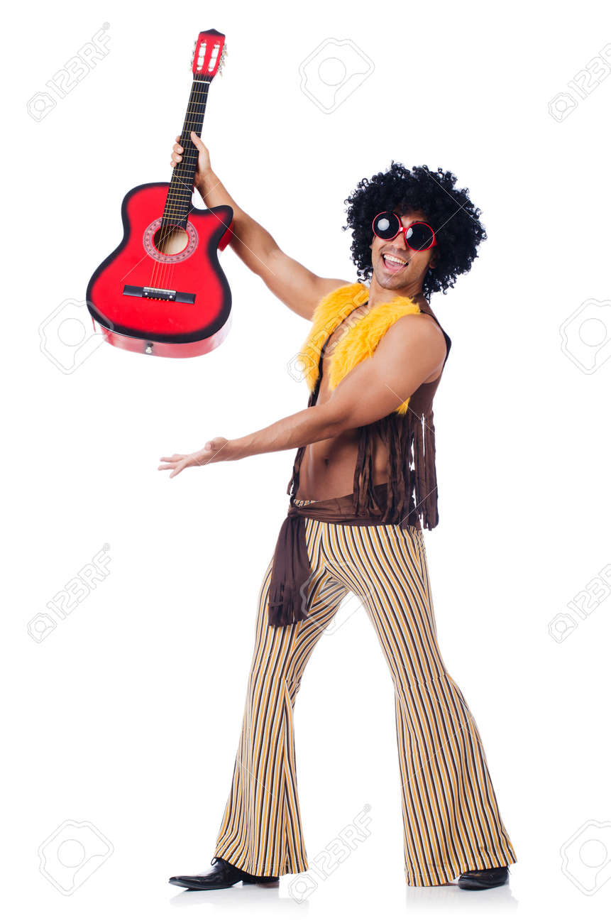 Male guitar player isolated on the white Stock Photo - 22581744