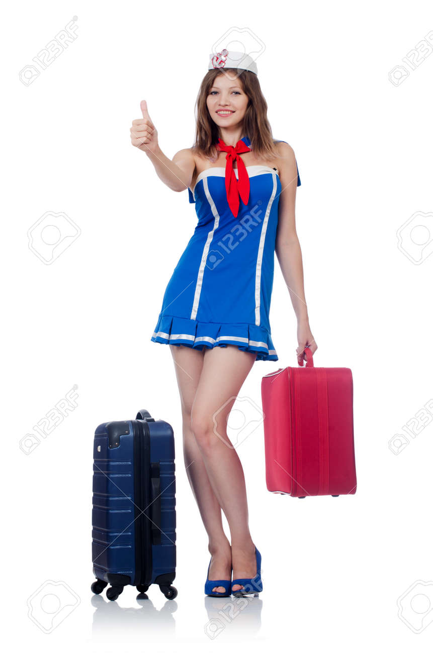 Woman travel attendant with suitcase on white Stock Photo - 22582086