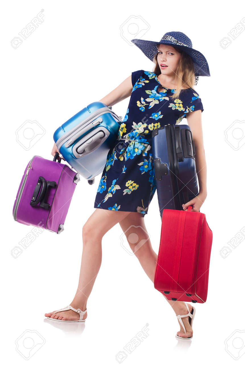 Woman with suitcases isolated on white Stock Photo - 22939895