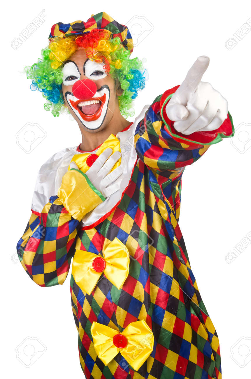Funny clown isolated on white Stock Photo - 22940082