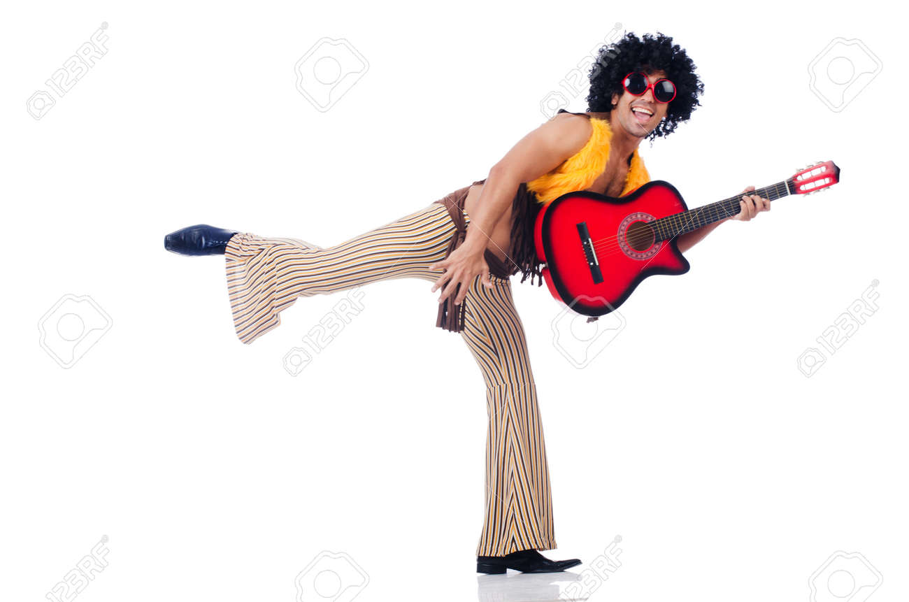 Male guitar player isolated on the white Stock Photo - 23082429