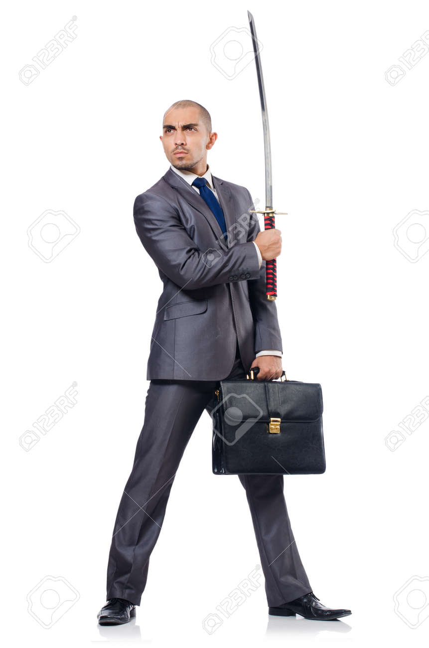 Businessman with sword isolated on white Stock Photo - 23100747