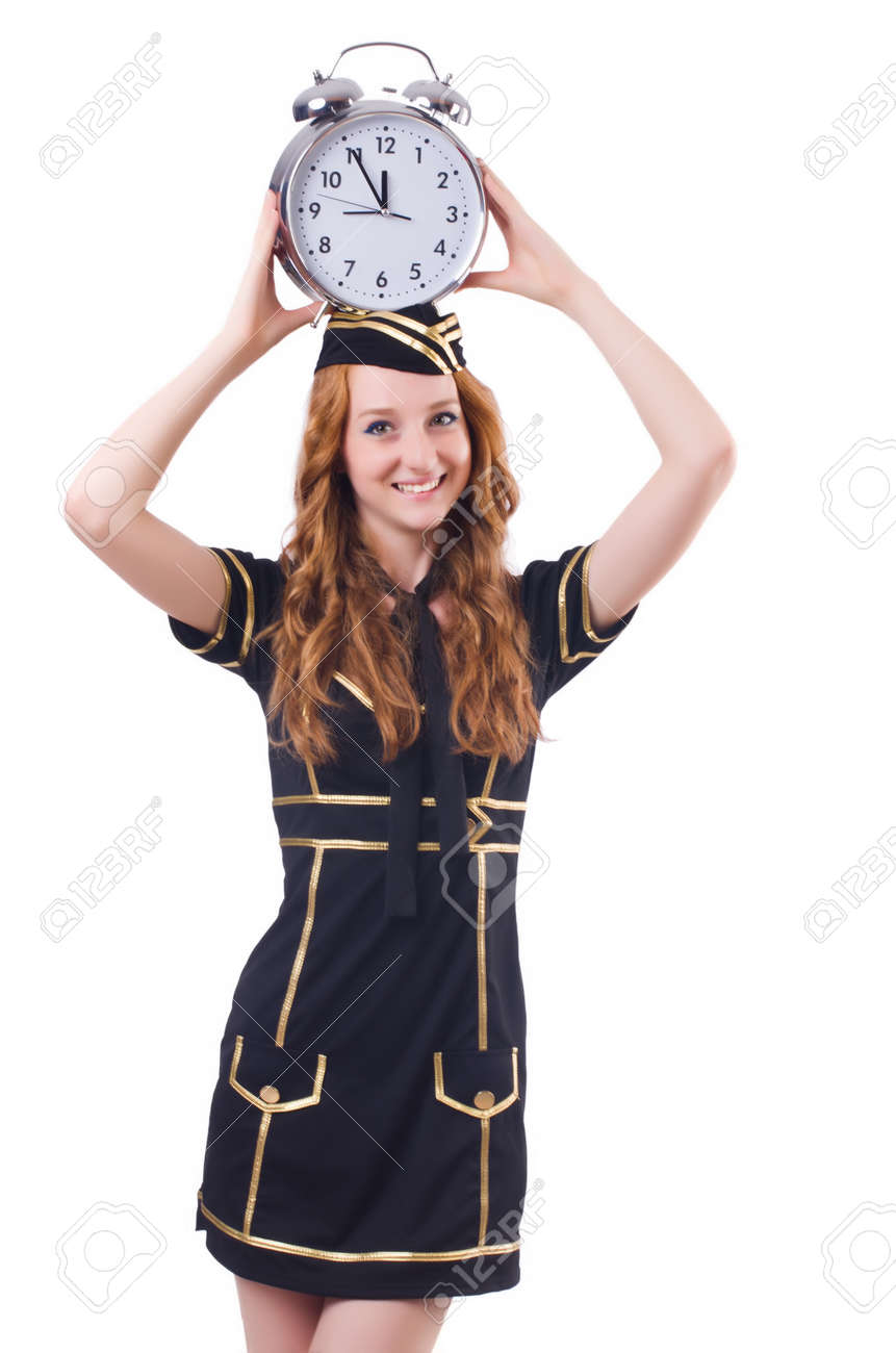 Sailor with clock isolated on white Stock Photo - 23538696