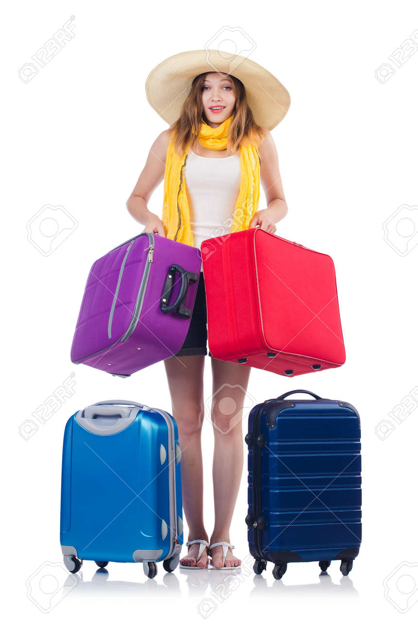 Woman going to summer vacation isolated on white Stock Photo - 23877184