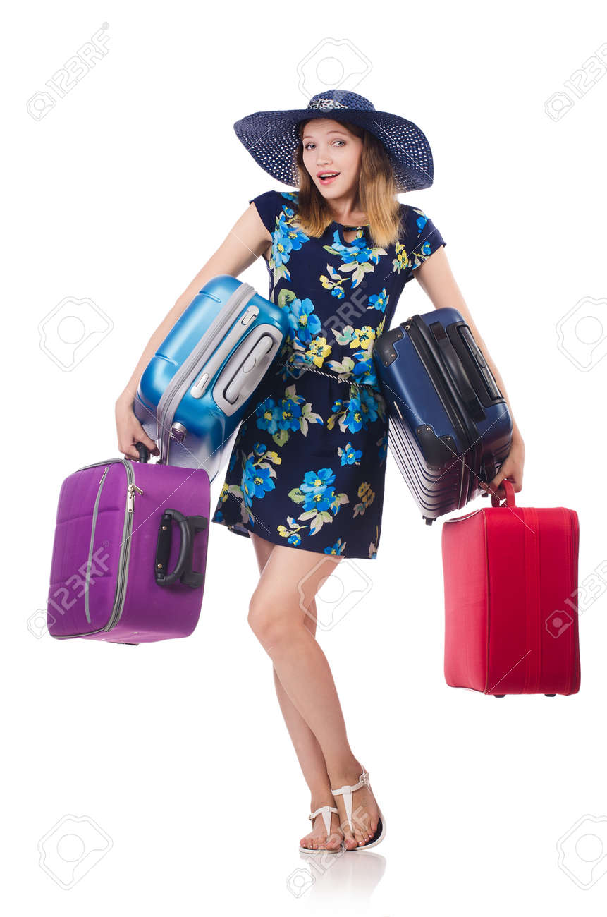 Woman with suitcases isolated on white Stock Photo - 23923980