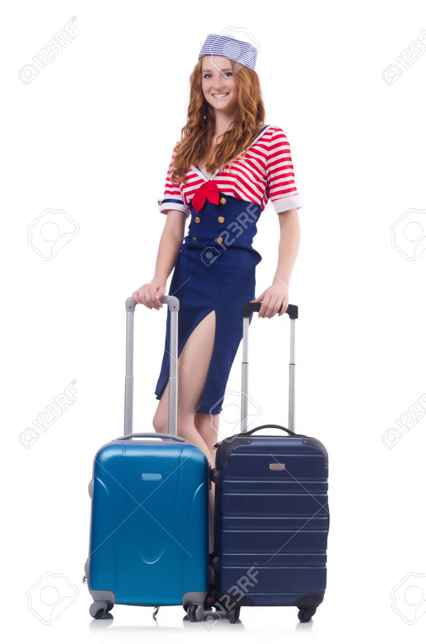 Woman travel attendant with suitcase on white Stock Photo - 23924206
