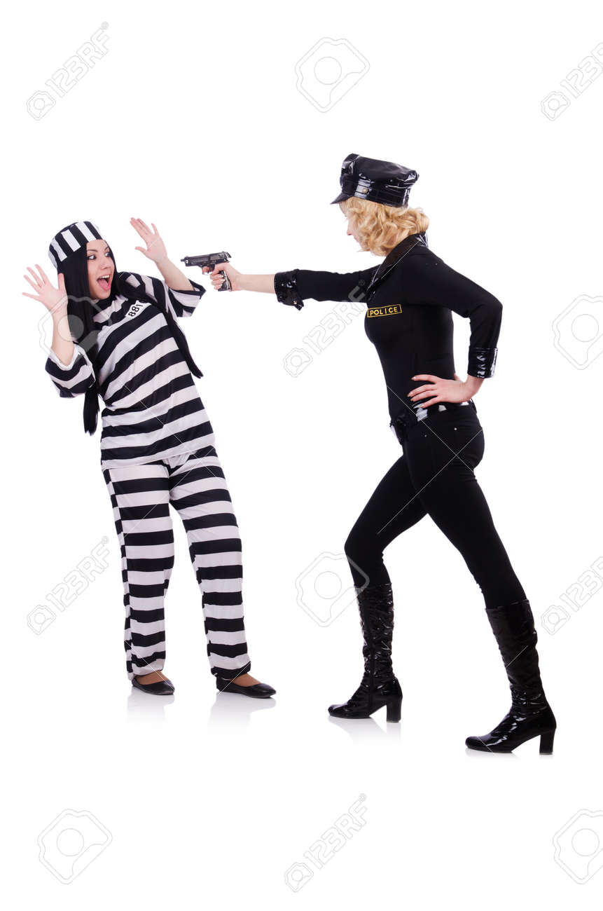 Prisoner and police isolated on the white Stock Photo - 23926149