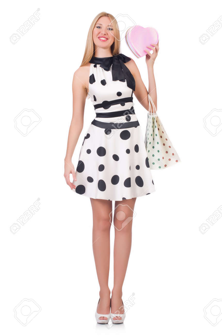 Young woman with christmas shopping on white Stock Photo - 27292548
