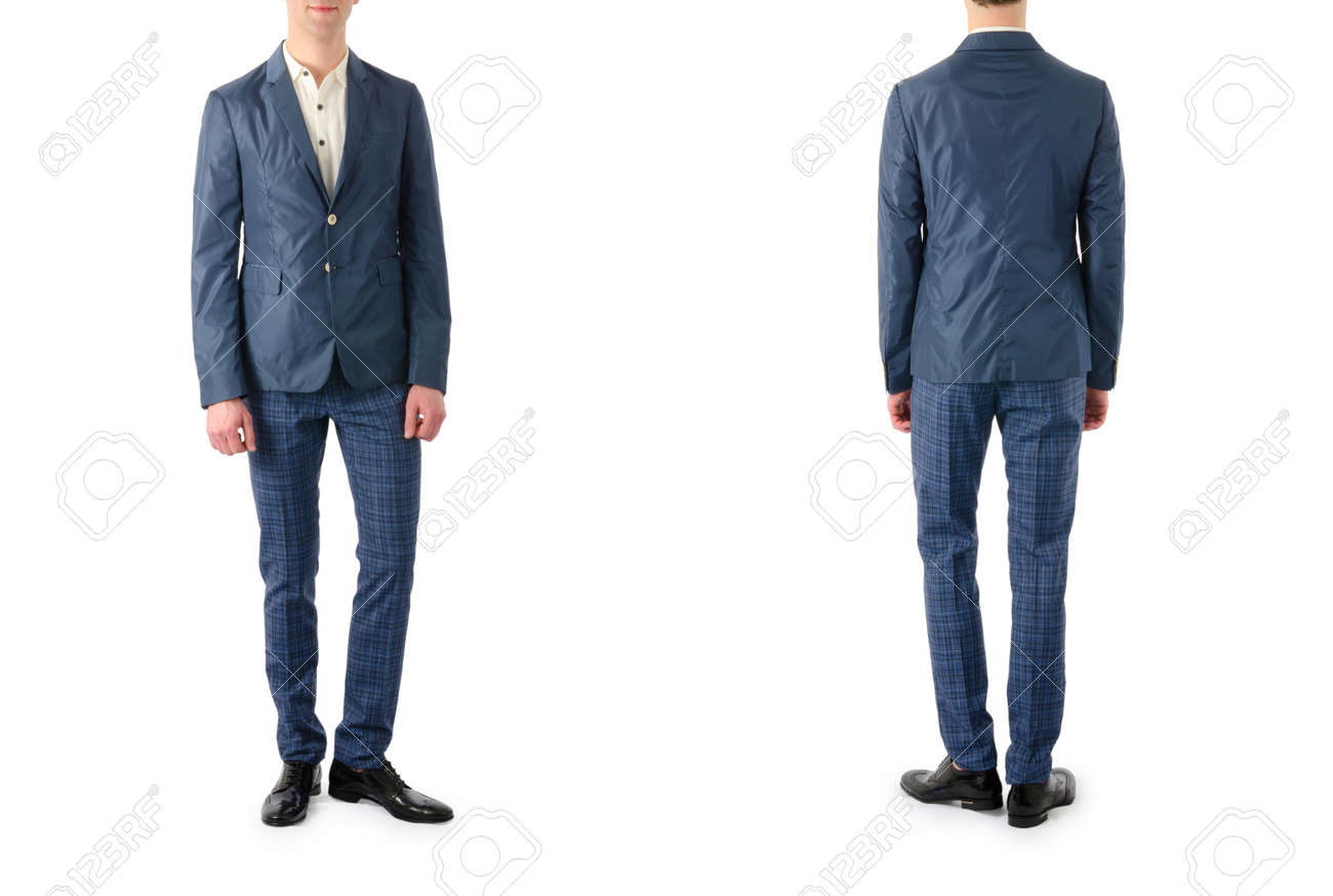 Model with male suit isolated on white Stock Photo - 24120832