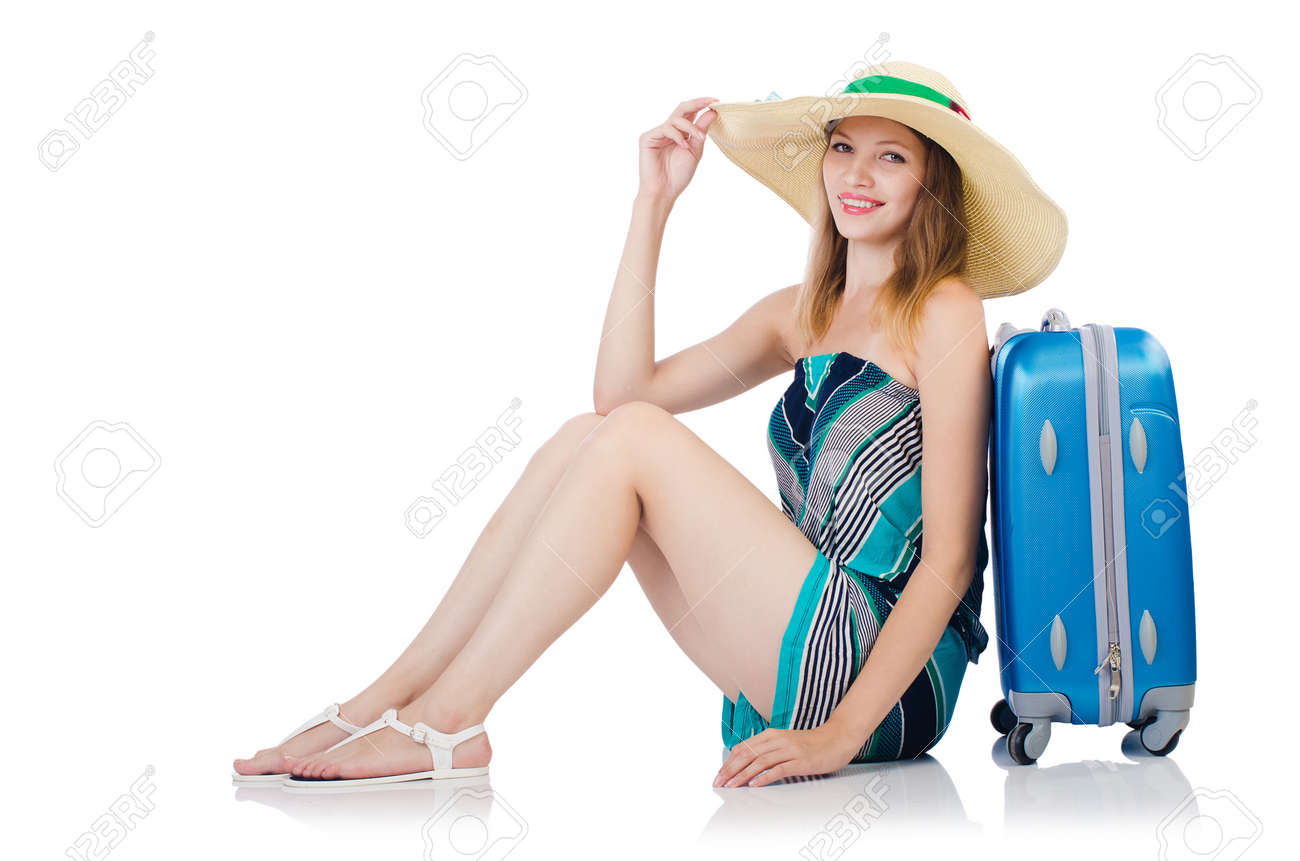 Woman with suitacases preparing for summer vacation Stock Photo - 24921577
