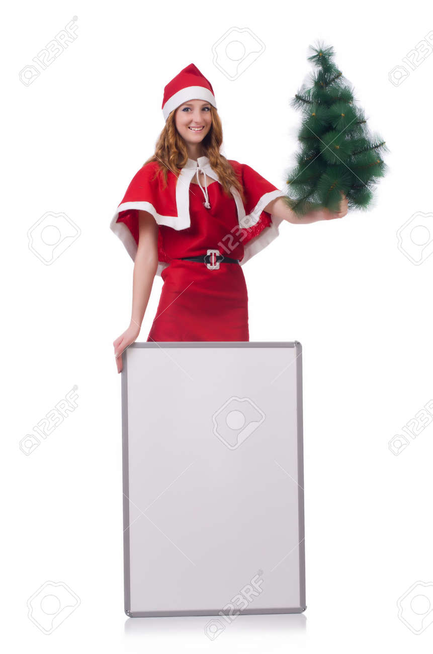 Snow girl with fir tree on white Stock Photo - 24921651
