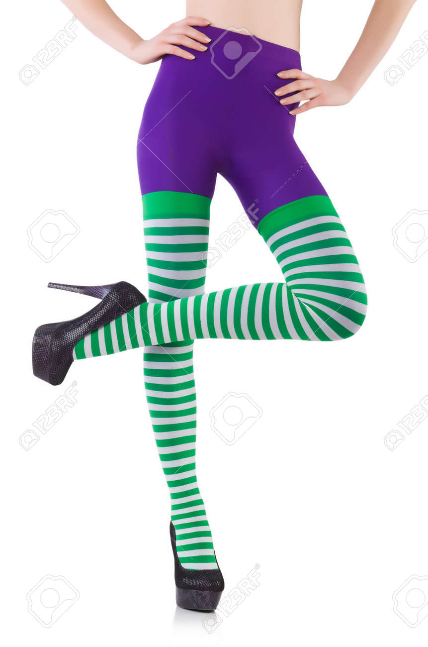 46933516d8e91 Striped Leggings Isolated On The White Stock Photo, Picture And ...
