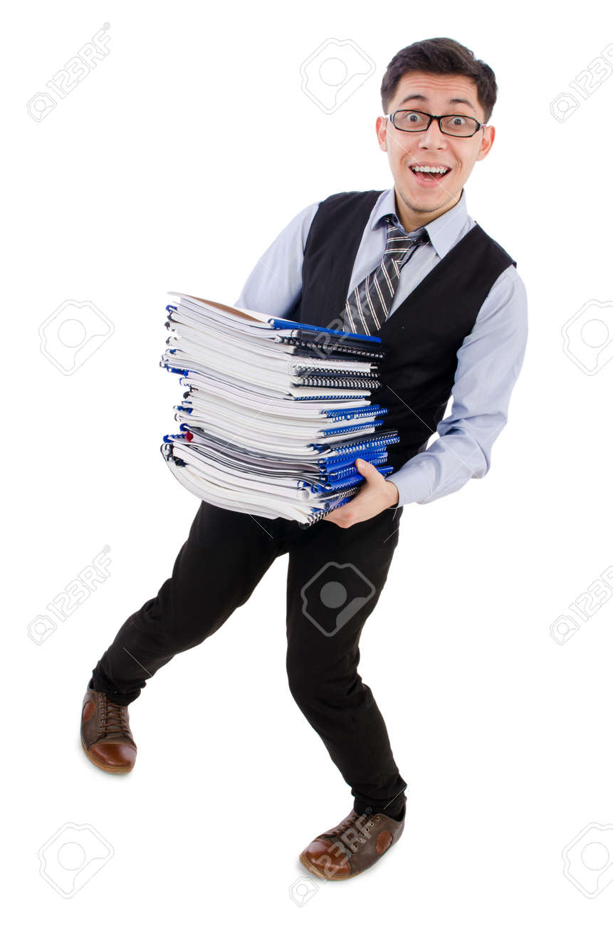 Funny man with lots of folders on white Stock Photo - 26800903