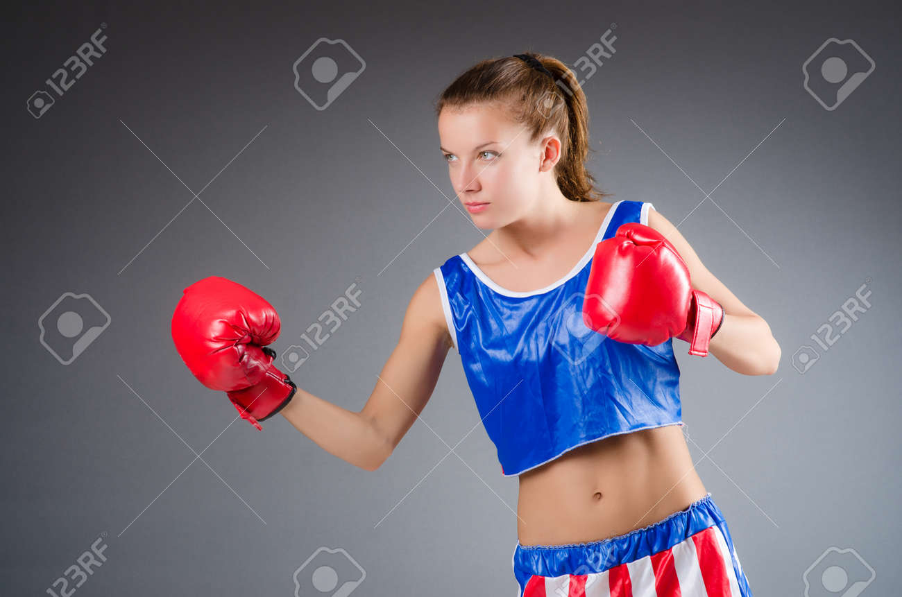 Woman boxer in uniform with US symbols Stock Photo - 27277917