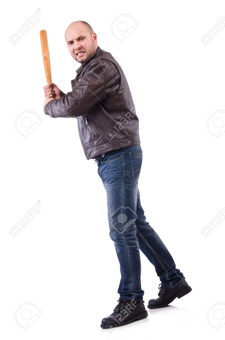 violent man with baseball bat on white stock photo picture and