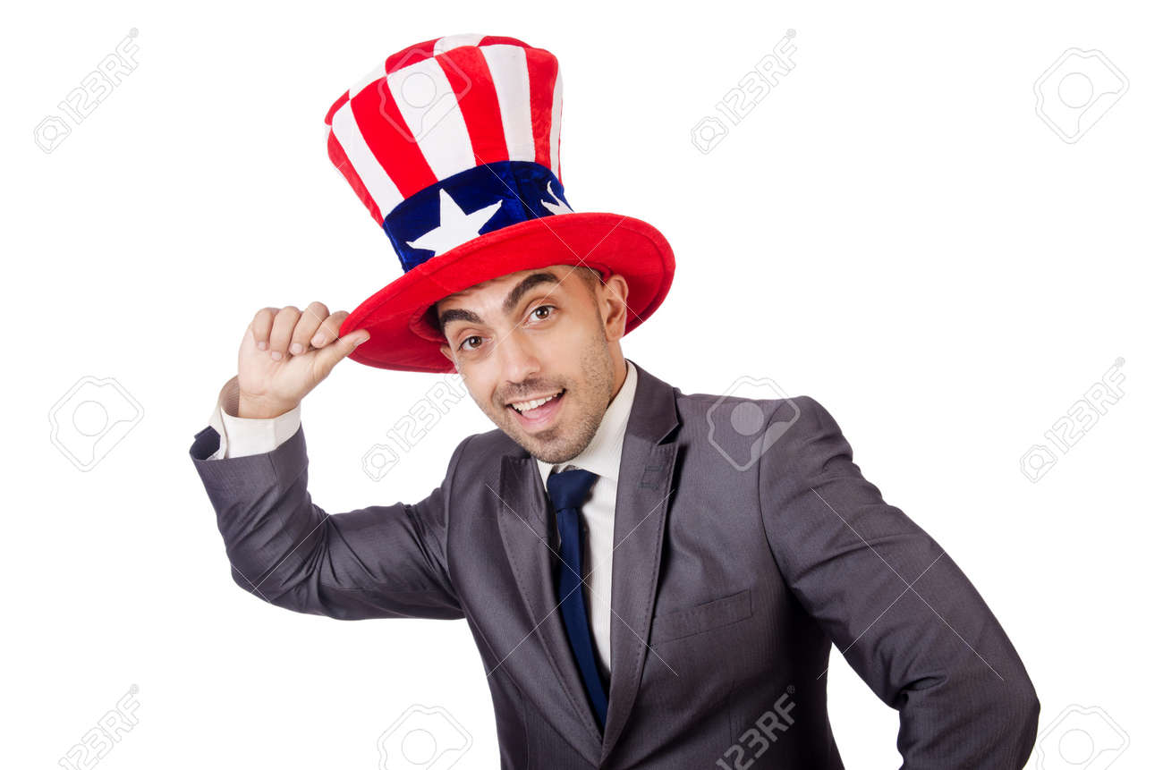 Man with american hat on white Stock Photo - 27758380