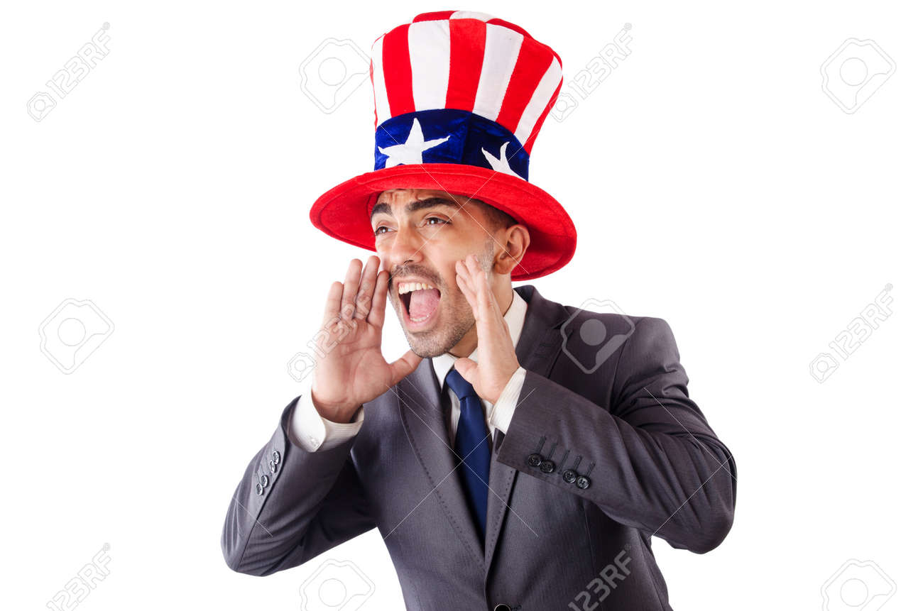 Man in american hat yelling isolated on white Stock Photo - 27881209
