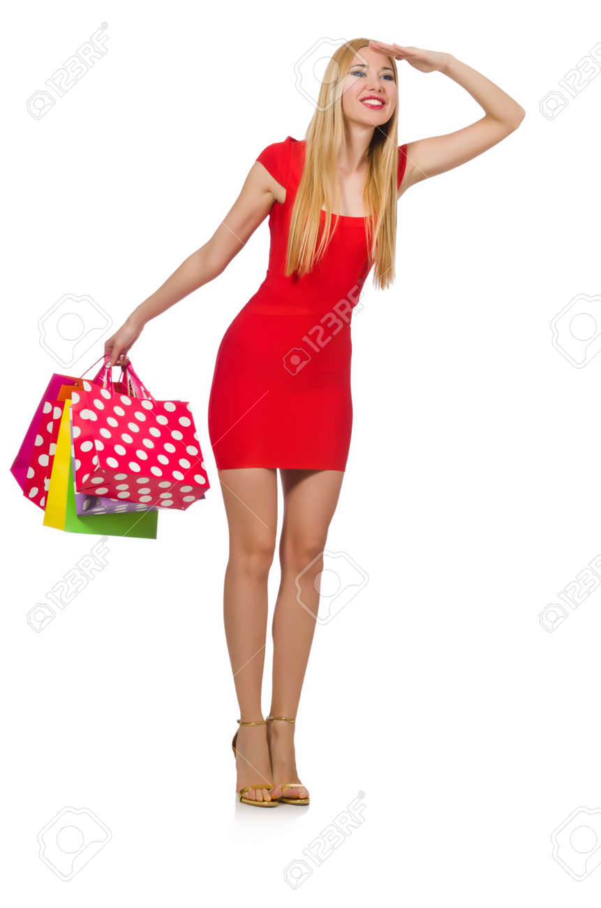 Young woman with shopping bags on white Stock Photo - 29878606