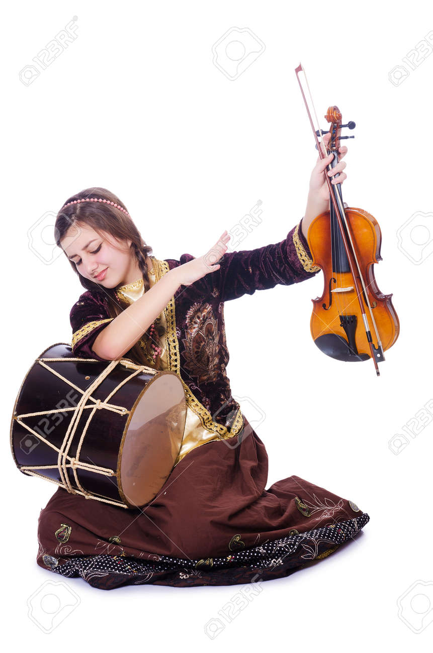 Young woman playing musical instruments on white Stock Photo - 29911870
