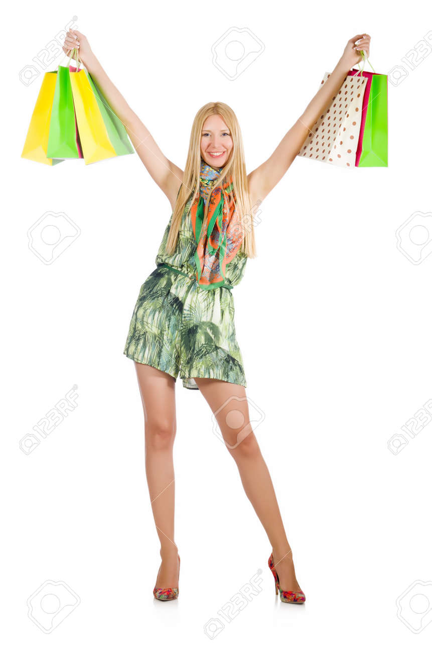 Woman after shopping spree on white Stock Photo - 29996837