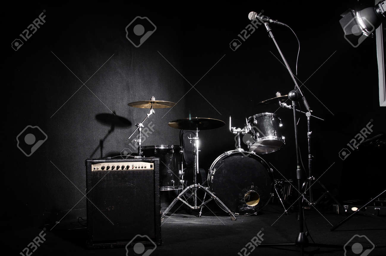 Set of musical instruments during concert Stock Photo - 31588114