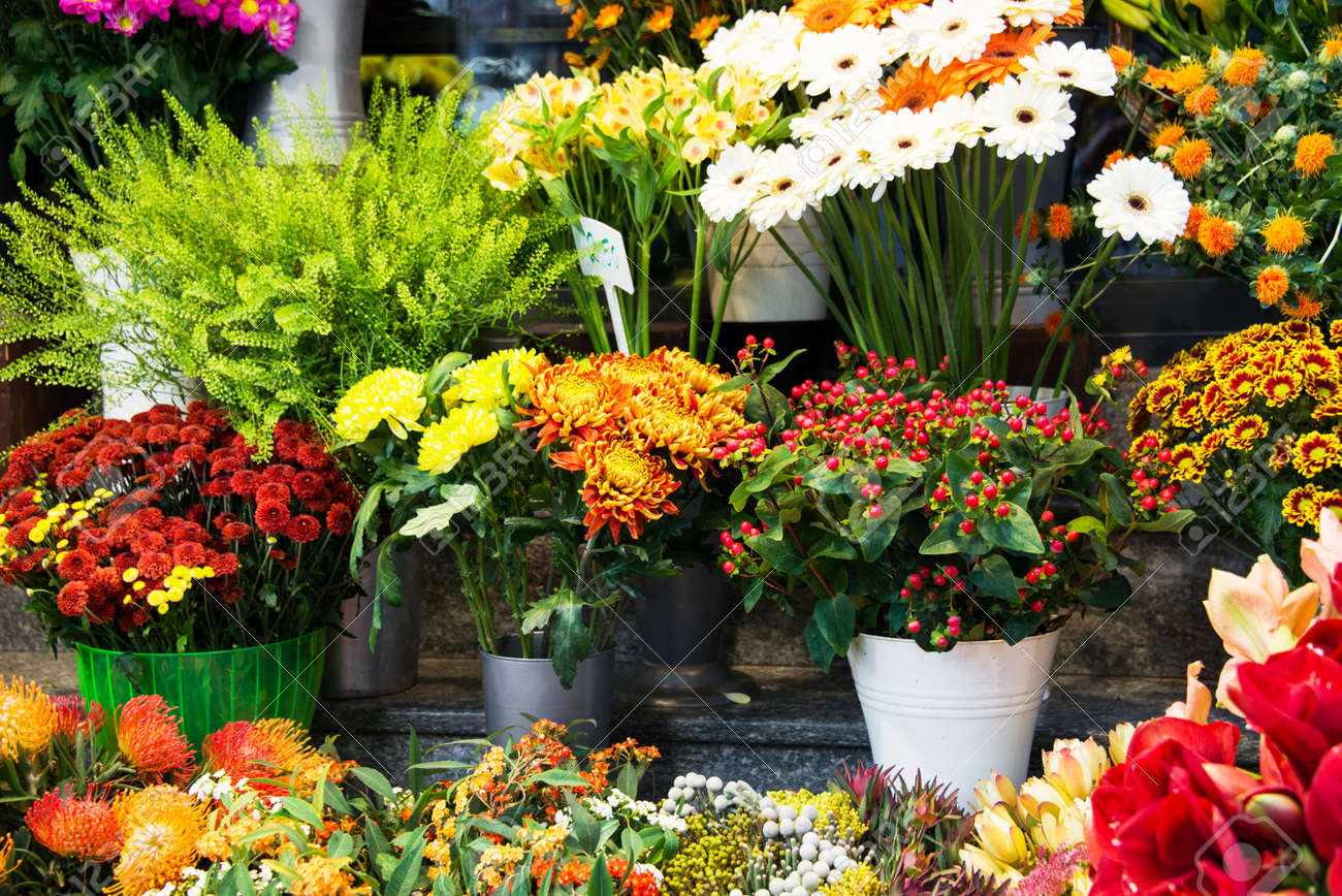 Street flower shop with colourful flowers Stock Photo - 31893522