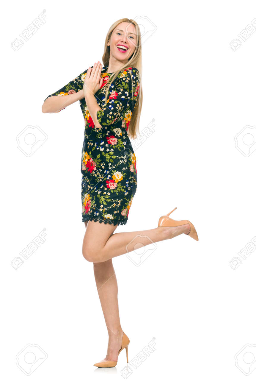 0874cb0af6b9 Woman in dark green floral dress isolated on white Stock Photo - 38671301