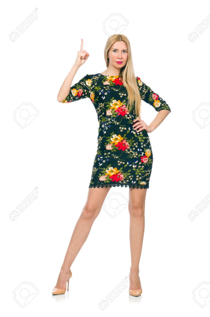 d806fb1880f3 Woman in dark green floral dress isolated on white Stock Photo - 40333720